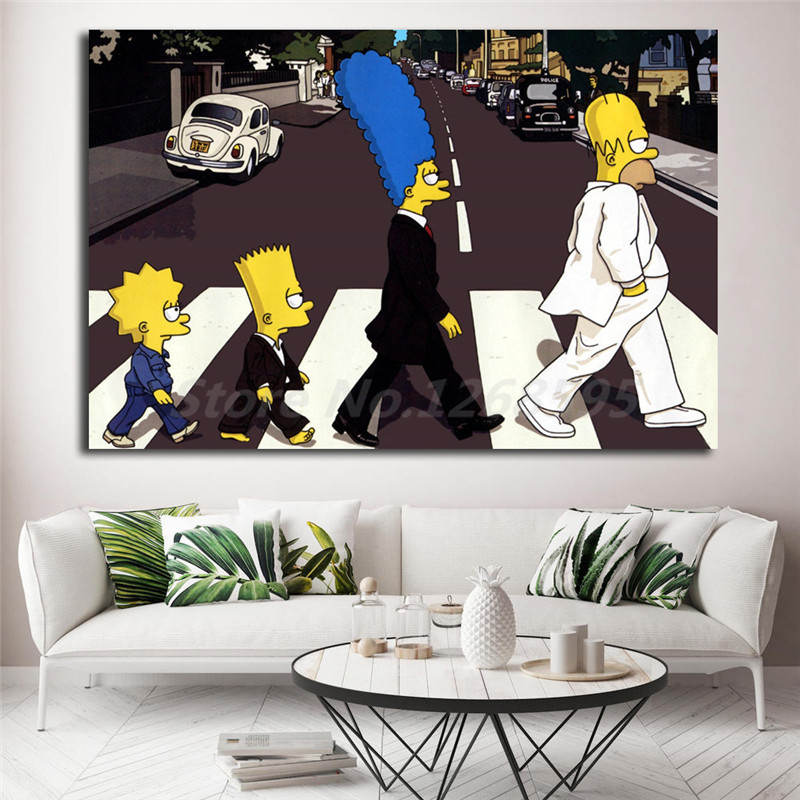 the simpsons abbey road hd wallpapers canvas painting print living room home decor modern wall. Black Bedroom Furniture Sets. Home Design Ideas
