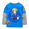 4 T Meninos T-shirt Dos Miúdos T-shirt Do Bebê camisas Menino jaqueta blusa cardigan Crianças camisola de Manga Comprida 100% Algodão fireman sam estilo