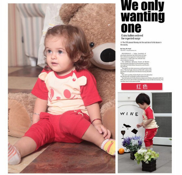 1PCS Free Shipping New Summer Baby Wear Short Sleeve Garment  Blue/ Pink / Red Cat Design Baby 2PCS Clothes Set T-shirt + Pants
