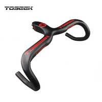 TOSEEK MTB 自転車カーボンハンドルバーロード 3 3k マット自転車ハンドルバー、カーボンマウンテンバイクの統合ハンドルバー 400/420/ 440 ミリメートルベントバー