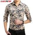 LONMMY Spring 2016 Men dress shirt slim fit Long sleeve  Flower shirt men casual shirt Cotton Fashion New M-5XL