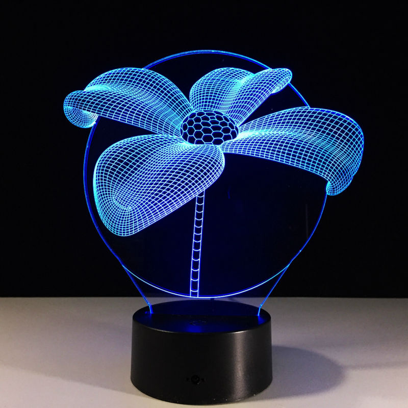 3D Lucky Grass 7 Colors Changing Flowers Acrylic Magic Palace 3D Lamp Bedroom Small Desk Energy Saving Lamp