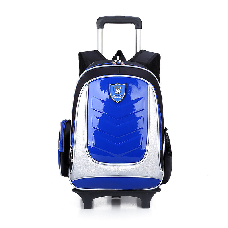 boys girls pu trolley school bags rolling children mochilas book bag kids cartoon wheeled backpack removable