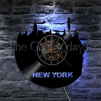 1Piece New York Statue Of Liberty Silhouette Wall Lamp Vinyl Record Wall Clock City Landscape Home Decor LED Night Lamp