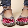 Elegante Antiguo Pekín Zapatos de Las Mujeres de Lino Bordado pisos Mary Jane Chino Flor de algodón y lino Gris Oscuro tamaño 5.5-8