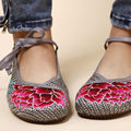 elegant Old Peking Women Shoes Embroidered Linen Mary Jane  flats Chinese Flower Dark Gray cotton and linen size 5.5-8