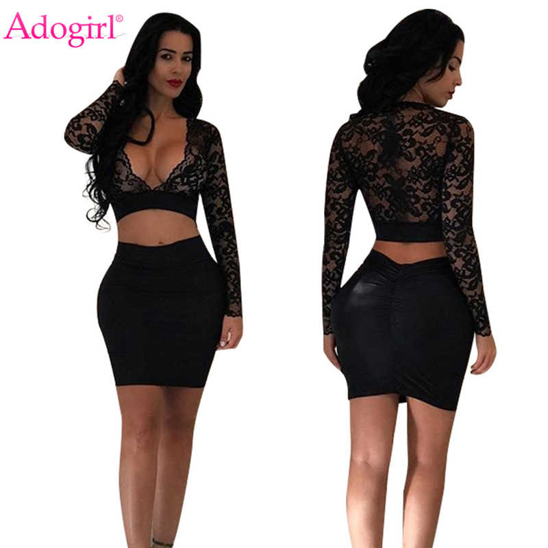 Adogirl Sexy Sheer Lace Crop Top Bandage Dress Women Two Piece Set Plunging  Deep V Neck 5b1c1ed7c77a