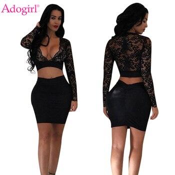 Adogirl Sexy Sheer Lace Crop Top Bandage vestido de dos piezas para mujer conjunto de cuello en V profundo manga larga Bodycon recortado mini vestidos
