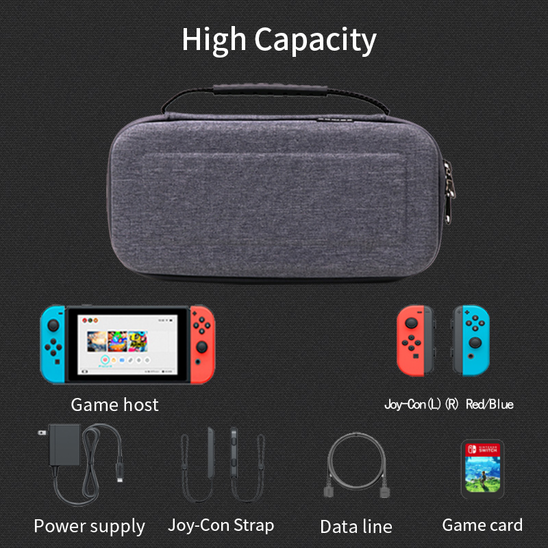 Original NEW EVA Hard Shell Case for Nintend Switch Games Steering Wheel Grip Caps Controller Charger Travel Waterproof Game Bag