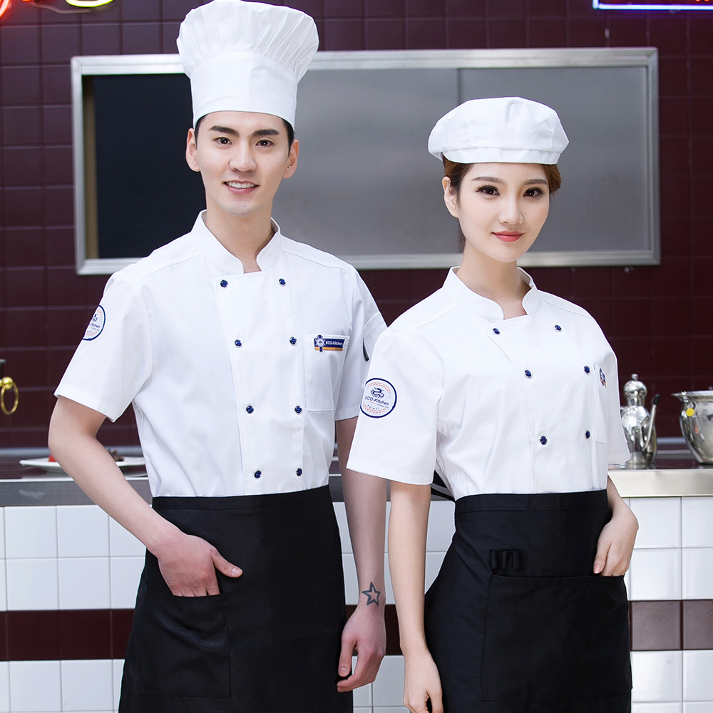 Newly Breathable White Double-breasted Short-sleeved Chef Jacket Catering Restaurant Hotel Kitchen Cook Suit Coat Work Overalls