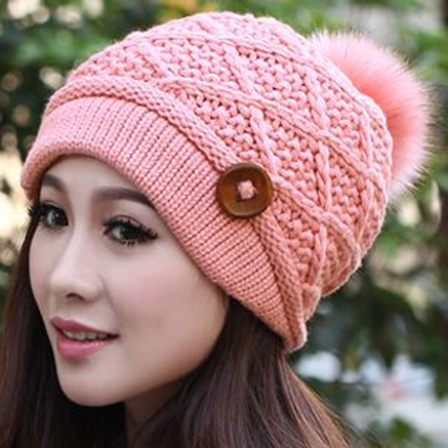8693bd43b12 Free Shipping 2015 Hot Sell Hat NEW Women Winter Fashion Knitted Caps Rabbit  hair Ball Warm Women Hat Skullies 7 colors