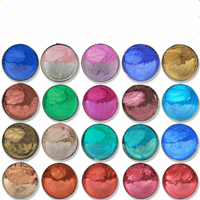 20 colors 50g/Pack Healthy Natural Mineral Mica Powder DIY For Soap Dye Soap Colorant Makeup Eyeshadow