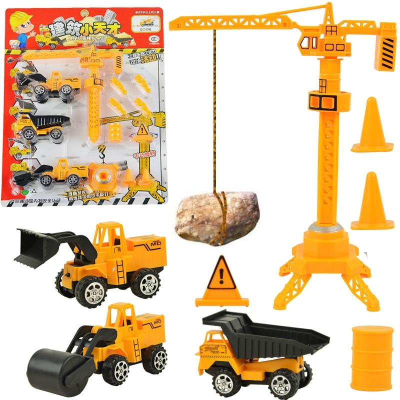 New Pull Back Emulational Engineering car vehicles Building Crane Boy Kids toy Excavator bulldozer cars toys Diecast car model