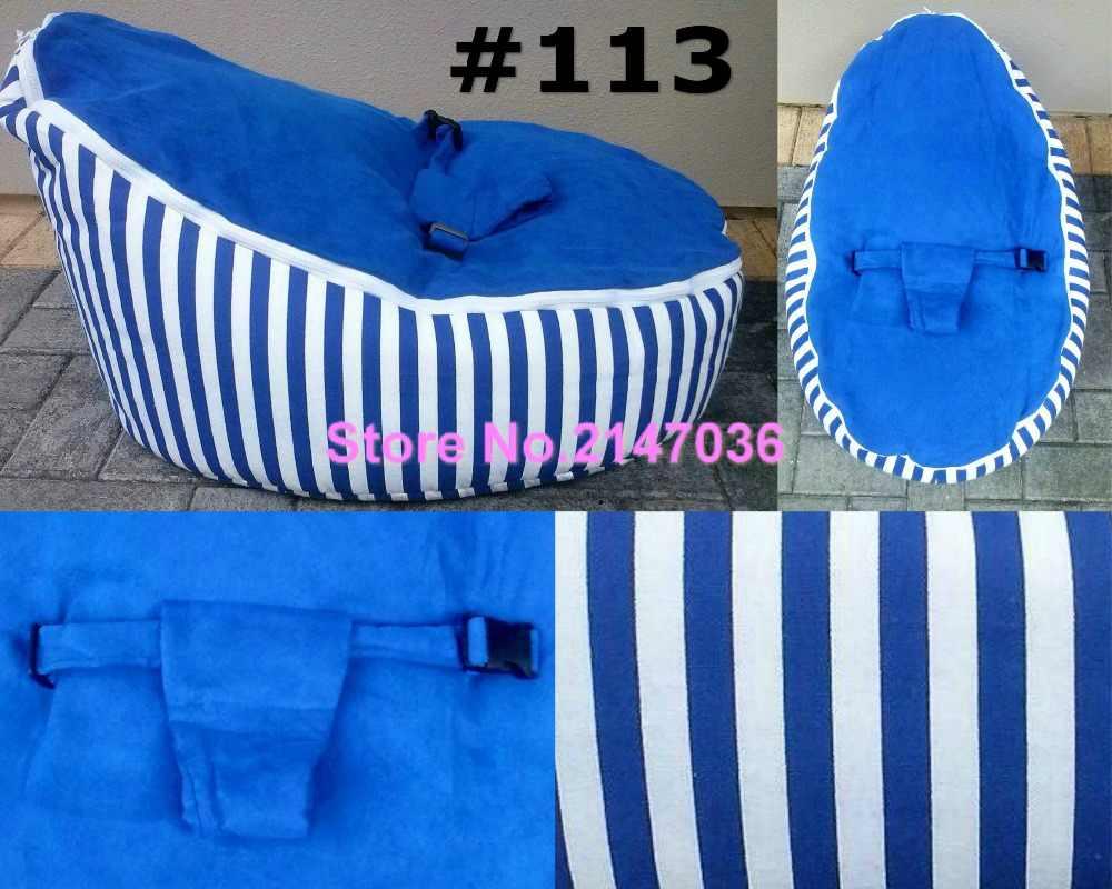 Listras tecido de algodão azul de feijão Bebê cadeira do saco de dormir, promoção preço barato crianças beanbag sofás-cama