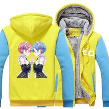 High-Q Unisex Re:Life in a different world from zero jacket Hoodies coat Sweatshirts cartoon Rem Ram Pack Emilia Hoodies coat