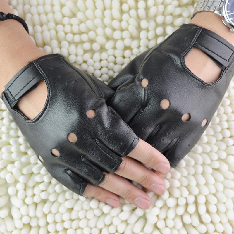 1 Pair Unisex Fashion Black Outdoor Sport PU Leather Gloves Solid Fingerless Driving Punk Gloves Half Finger Gloves