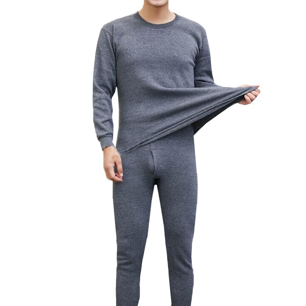 Men's Winter Thermal Underwear Suit Circular Collar Pure Color Shirt+pants 2 Piece Set Warm Thick Plus Velvet Clothing Set #VD11