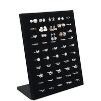 2017 Black Velvet Carrying Case Jewelry Ring Display Box Board Holder Storage Box Plate Organizer 20