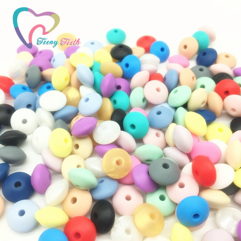 Teeny Teeth 10PCS Silicone Teething Abacus Lentil Beads DIY Nursing Necklace Colorful Lentil Silicone Teether Saucer Loose Beads