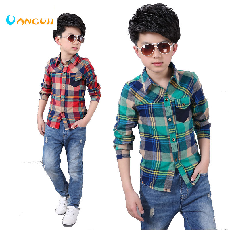 2017 Spring and Autumn Hot Child Shirt Color Lattice Pocket Stitching Boy Shirt 4-13 Year Old Slim Shirt pocket front shirt dress