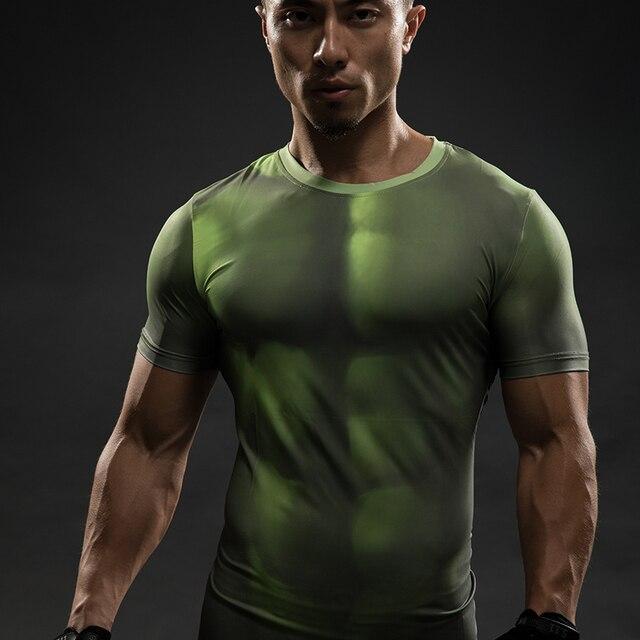 7532d9f2e8 Compressão Camisetas Vingadores HULK 3D Homens Da Camisa do Verão de manga  Curta de Fitness Crossfit