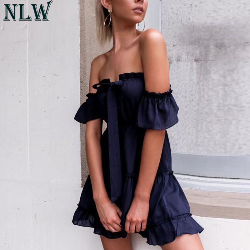 NLW Women Red Ruffles Short Summer Dress Vestidos 2019 Off Shoulder Sleeve Backless Tiered Beach Party Lace Up Bow Mini Dresses semi formal summer dresses