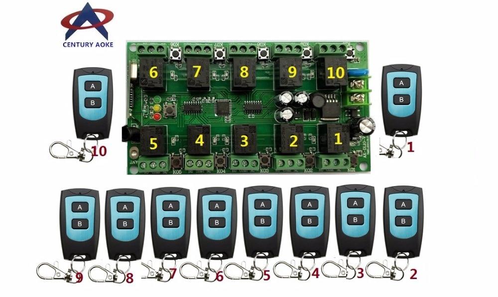 DC12V 10A 10CH RF système de contrôle à distance sans fil 1 récepteur + 10 * transmetteur d'étanchéité individuel apprentissage code portes/lampe
