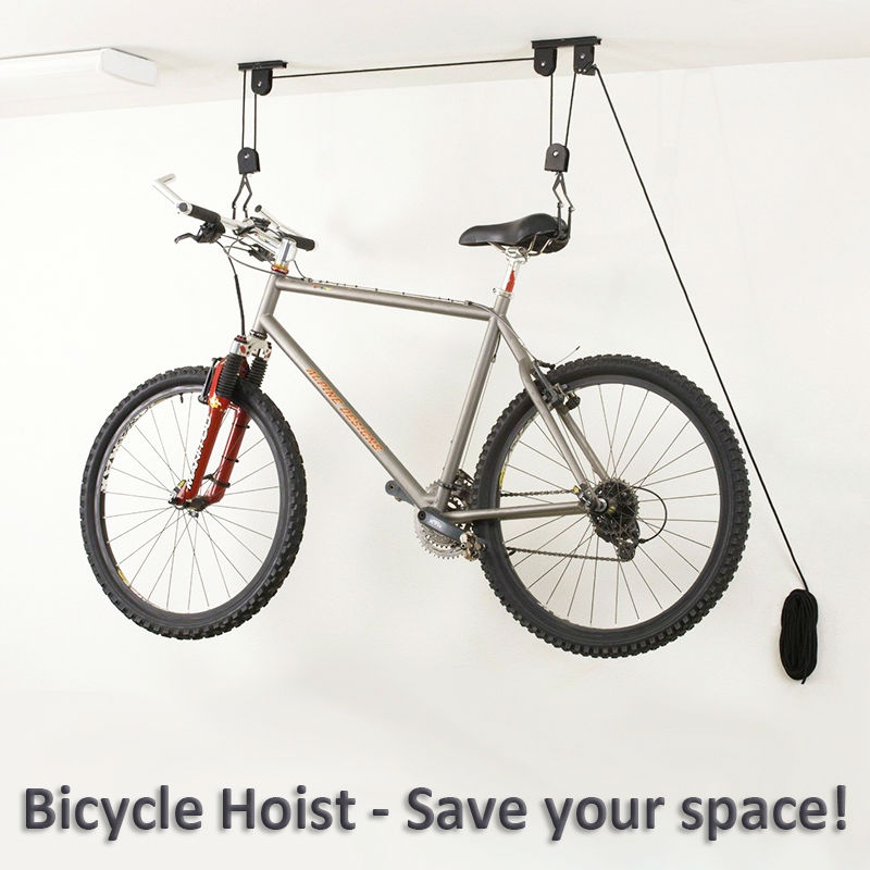 bike bicycle lift ceiling mounted hoist storage garage bike hanger save space roof ceiling. Black Bedroom Furniture Sets. Home Design Ideas