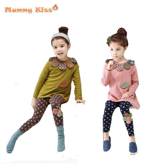 New winter  leisure suits girls flower and Spot long sleeve stripe T-shirt + leggings Children clothes  lyw-50860