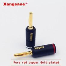 Xangsane enchufe de bloqueo de plátano chapado en oro y cobre, Rojo puro de alto rendimiento, conectores de Banana de altavoz HiFi, 4 Uds.