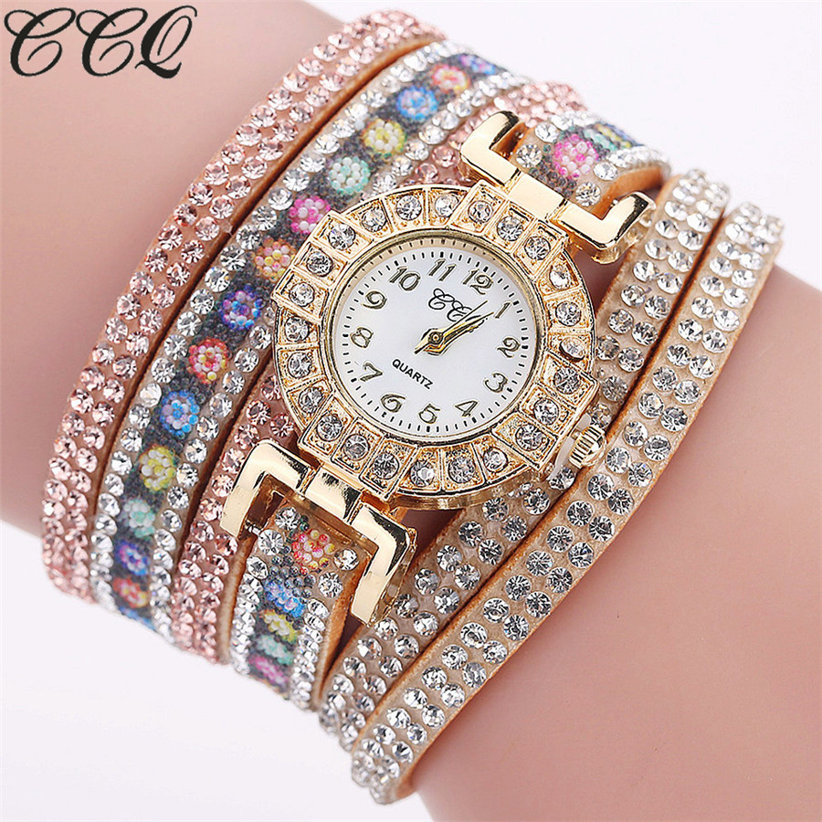 CCQ Brand Fashion Luxury Women Full crystal Bracelet Watch Ladies Quartz Watch Casual Women Wristwatch Relogio Feminino C123 ccq brand fashion vintage cow leather bracelet roma watch women wristwatch casual luxury quartz watch relogio feminino gift 1810