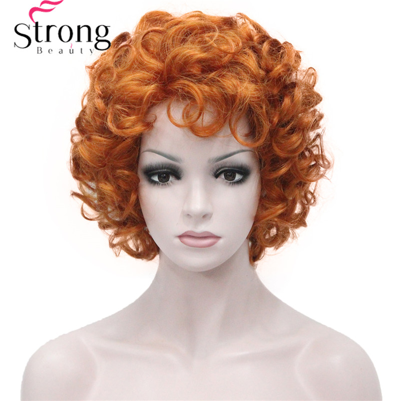 StrongBeauty Short Wig Soft Tousled Copper Orange Highlights Full Synthetic Wigs