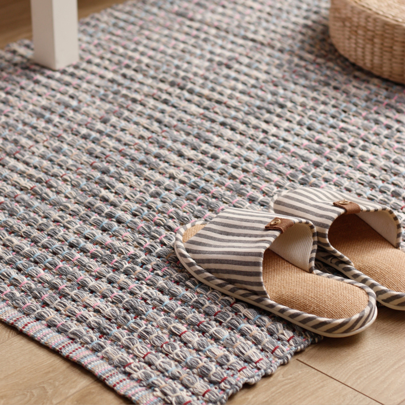 Thicken hand woven cotton carpet bedroom rug bay window gaddi washable carpet kids soft safe play mat eco friendly baby game pad
