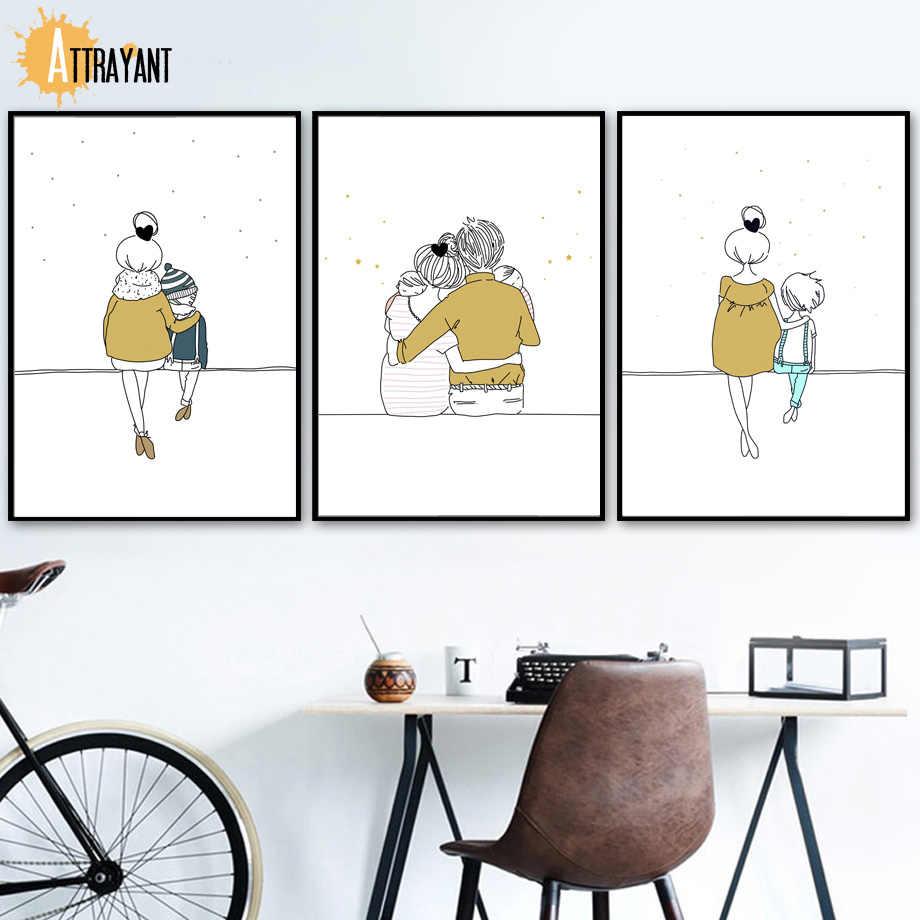 Ayah Bunda Anak Anak Bayi Nordic Poster Dan Cetakan Dinding