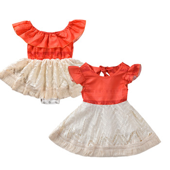 0-5T Infant Baby Girl Bodysuits Fancy Moana Polynesia Princess Dress Book Week Costume Kids Lace Dresses