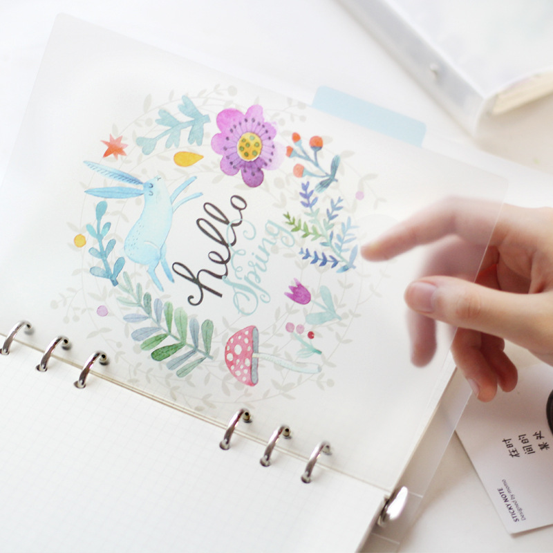Beautiful Flower Notebook For A5 A6 6 Holes Loose Leaf Transparent PP Separator Pages Paper Inside Pages