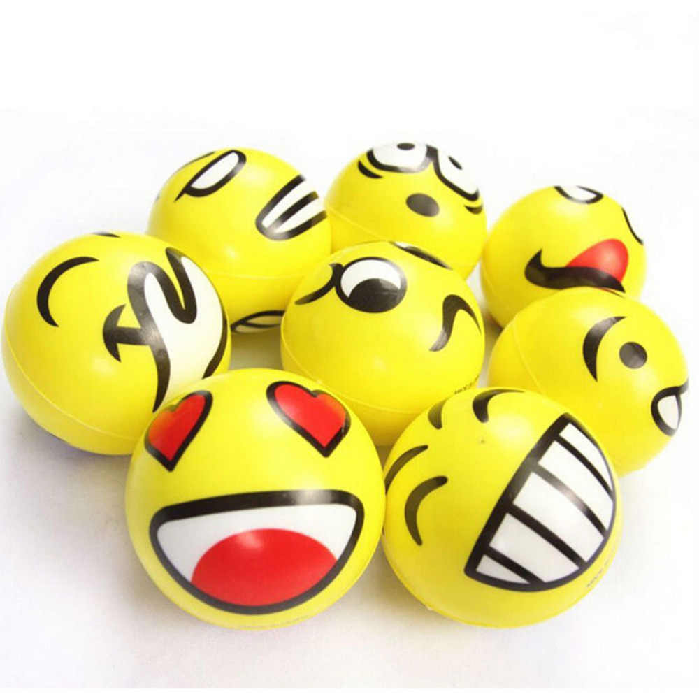 7.5cm Dia Stress Ball Novetly Emoji   Print Squeeze Ball Hand Wrist Exercise Stress Ball PU Rubber Toy Balls 1PCS
