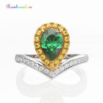Rainbamabom 925 Sterling Silver Water Drop Pear Emerald Gemstone Wedding Engagement Ring Fine Jewelry Wholesale Drop Shipping