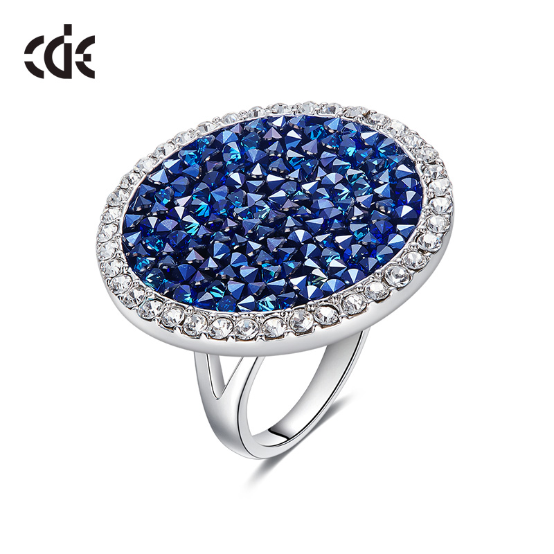CDE Crystals from Swarovski Luxury Big Austrian Rhinestone Ring Fashion Romantic Engagement Women Jewelry Blue Wedding Bijoux