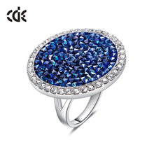 CDE Crystals from Swarovski Luxury Big Austrian Rhinestone Ring Fashion  Romantic Engagement Women Jewelry Blue Wedding Bijoux b72d108c9d48