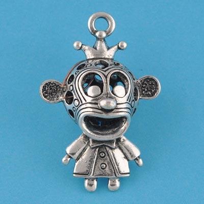 50 pcs vintage filigree antique silver metal cast monkey pendant 28*42mm