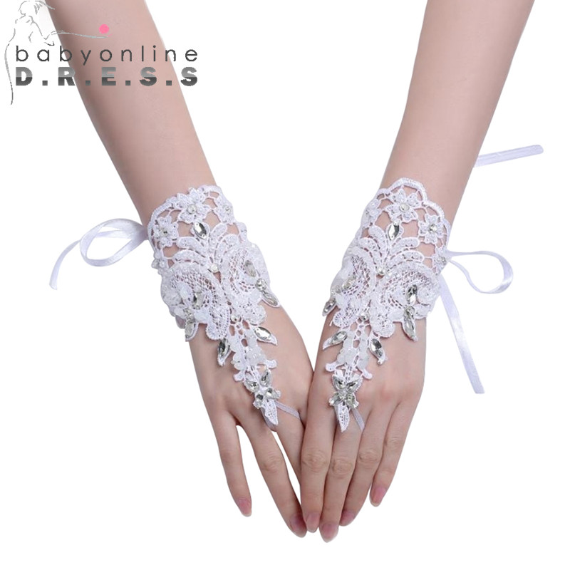 Bridal-Gloves Beaded Lace Fingerless Ivory White For In-Stock Babyonline 2pieces/pair