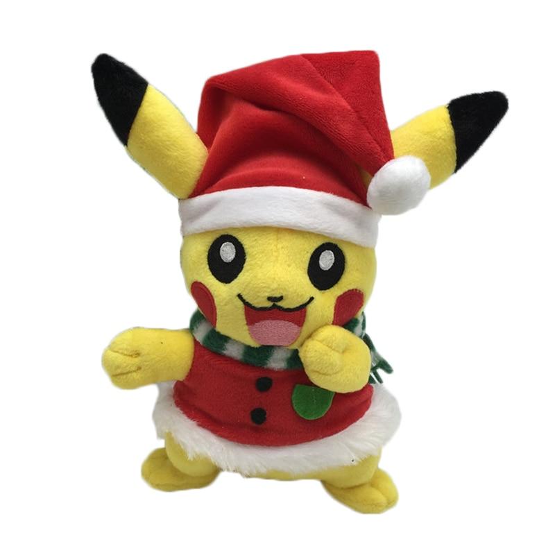 Söt 20cm pikachu plysch leksaker för barn jultomten cosplay leksaker pikachu mjuk fylld plysch duk baby barn leksak julklapp