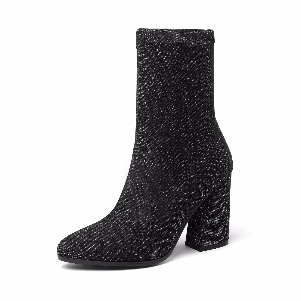 New autumn boots children's Lycra stretch boots socks high heel booties pointed and bare boots thick with women's shoes.