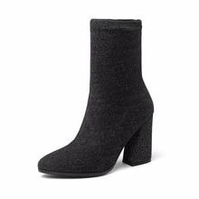 Новые осенние сапоги детские лайкра растягивающиеся сапоги Носки высокий каблук пинетки острым и ботильоны Толстые со женская обувь.