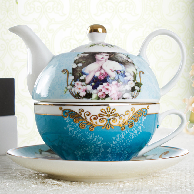 Oil painting Teapot and Tea Cup Classical Composite Pot Vintage Coffee Cups  Set Drinkware kitchen Accessories