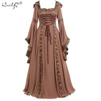 Womens/Men Gothic Cosplay Costume Dress Vintage Celtic Long Sleeve Medieval Dress Floor Length Renaissance Celebrity Party
