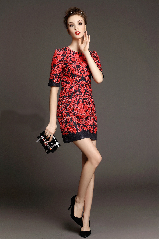 10a65f5e0 شحن مجاني 2015 أوائل الربيع أزياء المرأة اليومية الجديدة أنيقة فساتين قصيرة  الأكمام المطبوعة الزهور الحمراء الأسود jaquard في شحن مجاني 2015 أوائل  الربيع ...
