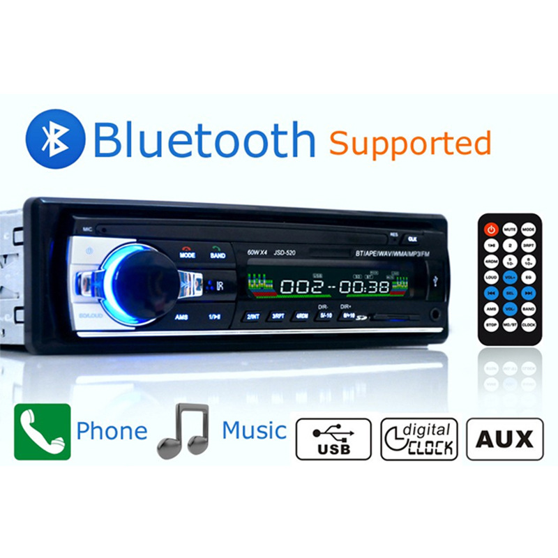 Bluetooth Autoradio Car Stereo Radio FM Aux Input Receiver SD USB JSD-520 12V In-dash 1 Din Car MP3 Multimedia Player Car Radio