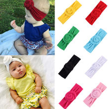 купить Yundfly Toddler Girls Big Rolled Bow Knotted Headband Baby Kids Hairband Stretch Turban Knot Head Wrap онлайн